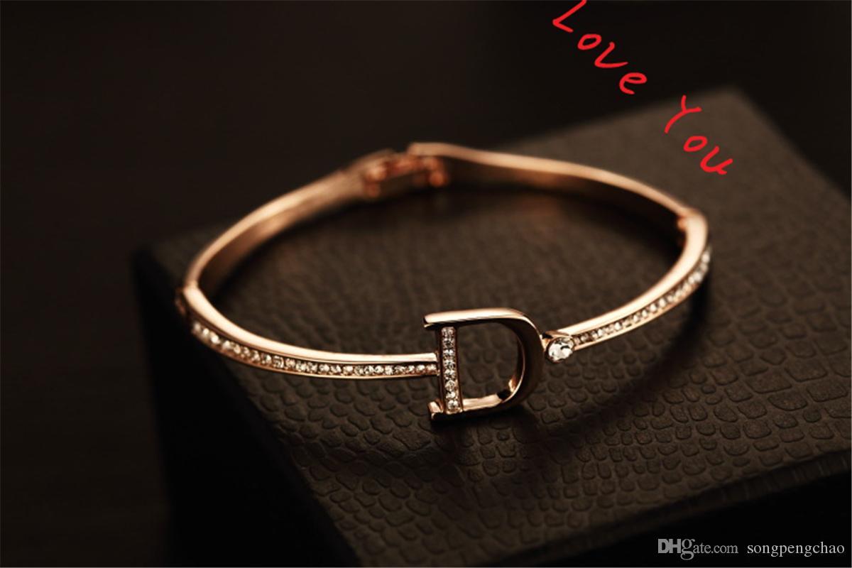 Estilo coreano Zircon pulseiras pulseira para mulheres banhado a ouro letra d encantos pulgles jóias moda acessórios
