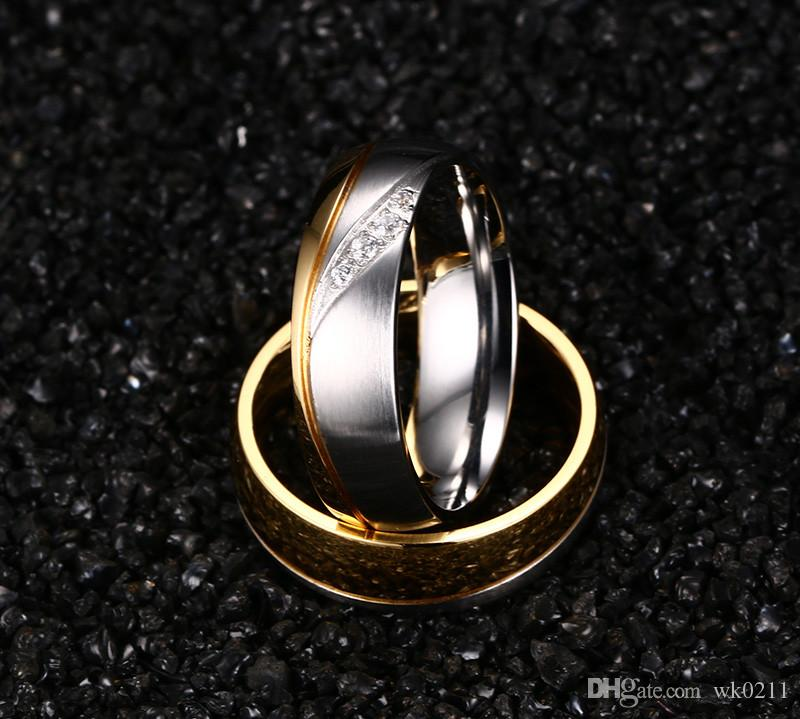 WK Rings For Women Man CZ Diamond Wedding Ring 18k Gold Plated Stainless Steel Promise Jewelry