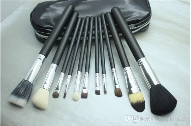 Profesyonel M Fırça Seti ile 12 adet Makyaj fırçalar Taşınabilir Lüks Deri Çanta Pembe Siyah Renkler Kozmetik Toz Fırçalar DHL Ücretsiz