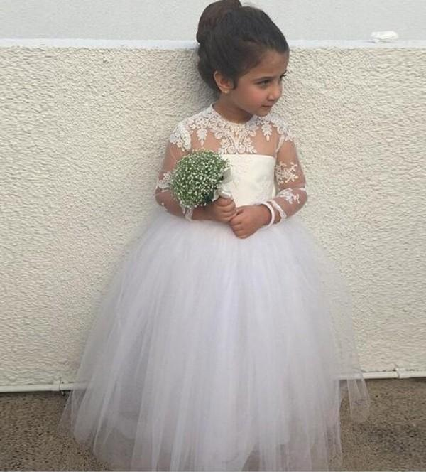 Vintage Girl Pageant Dresses A Line Sheer Small Neck Illusion Long Sleeves Lace Appliques Soft Tulle Flower Girl Gowns for Wedding