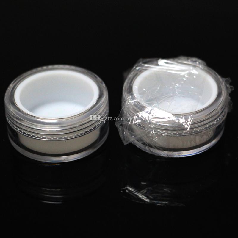 Şeffaf plastik kavanoz beyaz astar ile yapışmaz silikon 5 ml şeffaf plastik konteyner vaporizatör ile dab wax yağı plastik konteyner kap