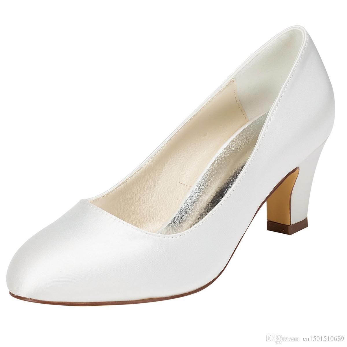 2017 New Lace Imit Silk Wedding Shoes White Bridal Bridesmaid Banquet Dress Women Pumps 6cm Multisize Us5 9 1505 1