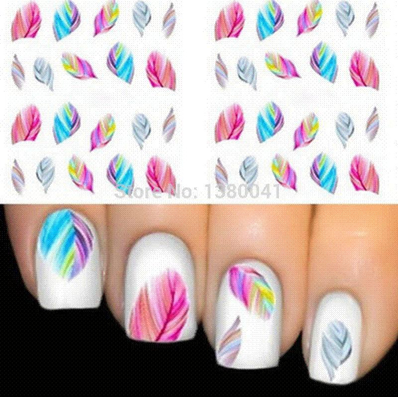 Beautiful Colorful Feather Nail Art Decal Stickers Fashion Tips ...