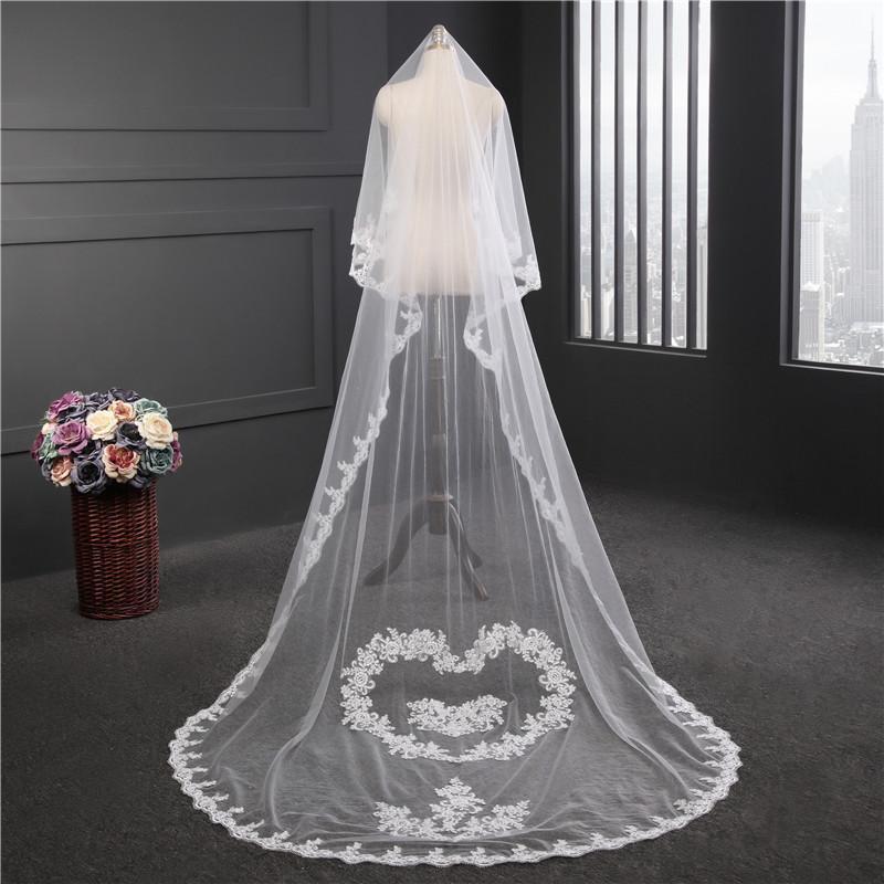 Korea Style Romantic Long Lace Edge Veil White Ivory Bridal Veils ...