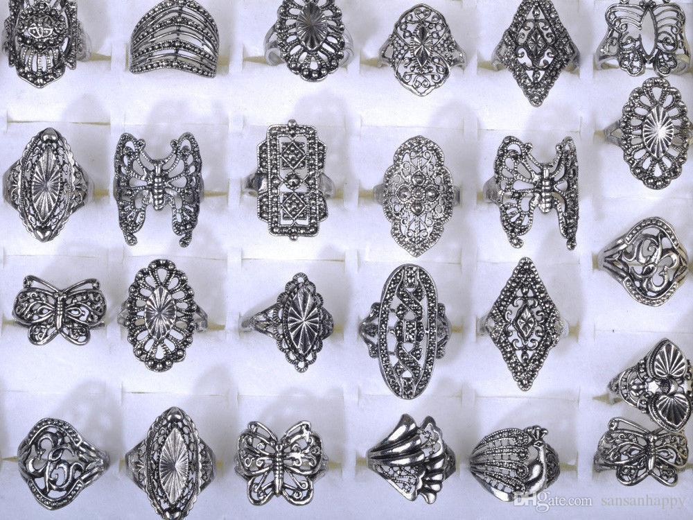 도매 세련된 우아한 합금 반지 보석 혼합 스타일 티벳 실버 빈티지 반지 무료 배송