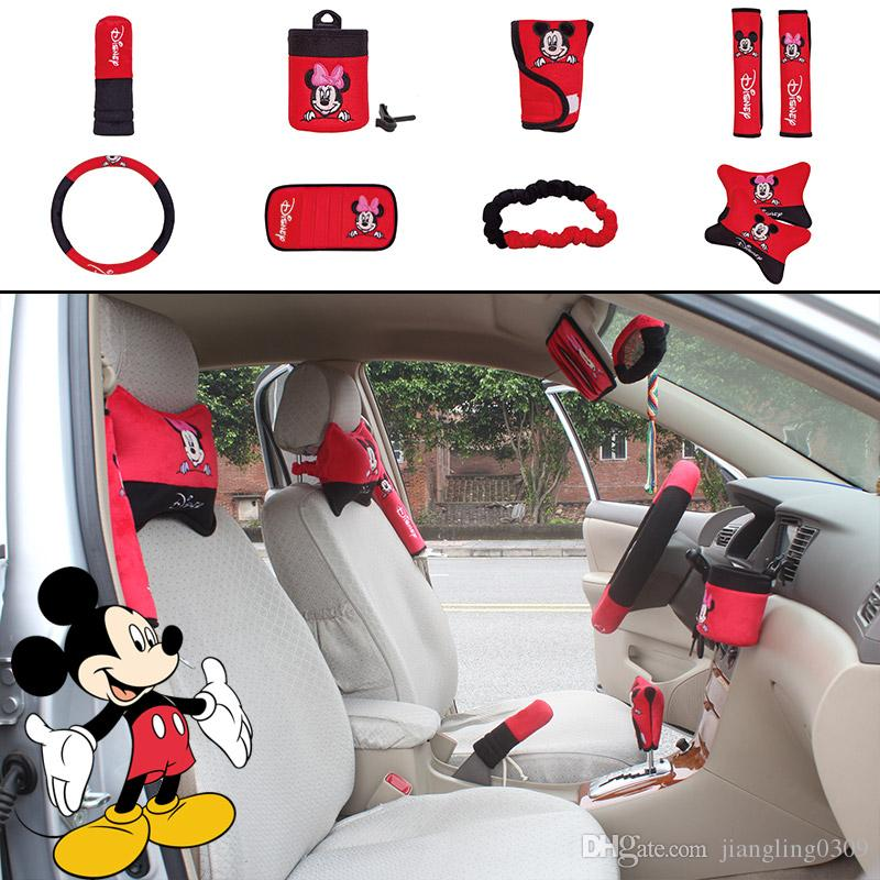 unit auto accessories red cartoon mickey mouse car upholstery steering wheel cover pillow set. Black Bedroom Furniture Sets. Home Design Ideas