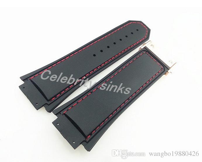 30mm 새로운 고품질 로즈 골드 버클 레드 스티치 블랙 실리콘 고무 스트랩