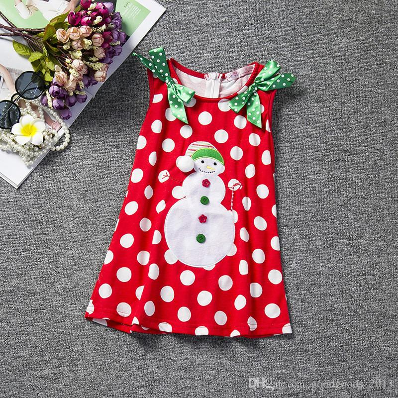 Baby Girl christmas dress sweet princess vestidos Santa claus snowman cartoon Clothes best gift kids TUTU Party Tulle funny Dresses b1403