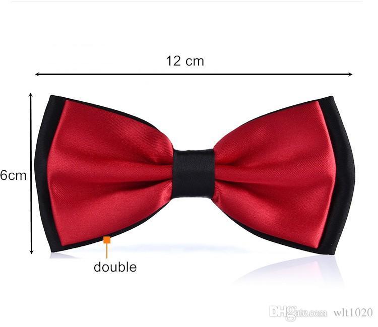 pure bow tie double color solid adult bowknot polyester butterfly for men business wedding