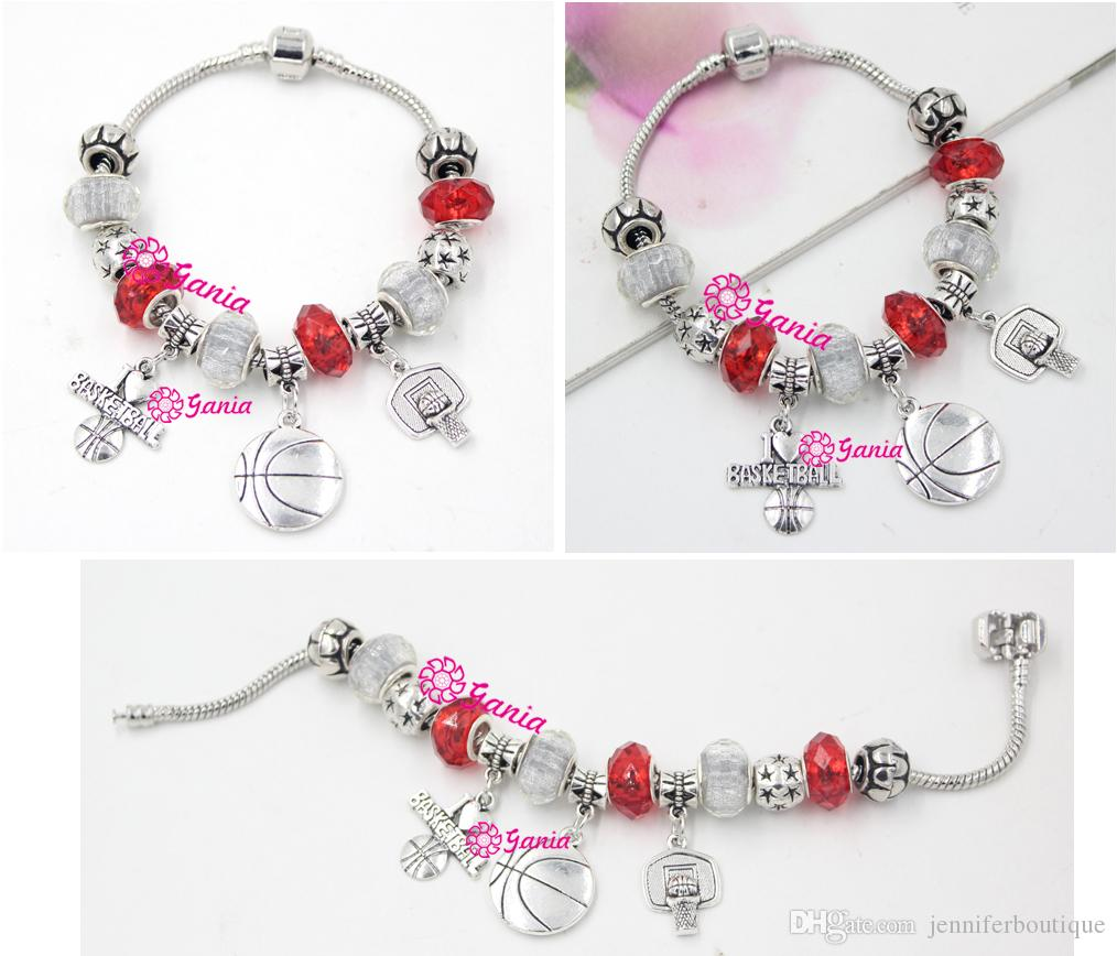 New Arrival DIY European Bead Style Sport Jewelry Sport I Love Basketball Charms Bracelets for Christmas Gift