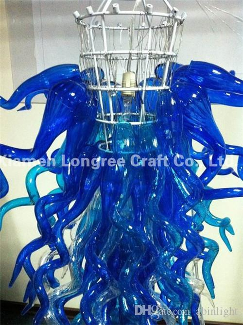 Pretty Blue Murano Glass Crystal Hanging Chandelier Custom Made Modern Home Decor Glass Lighting