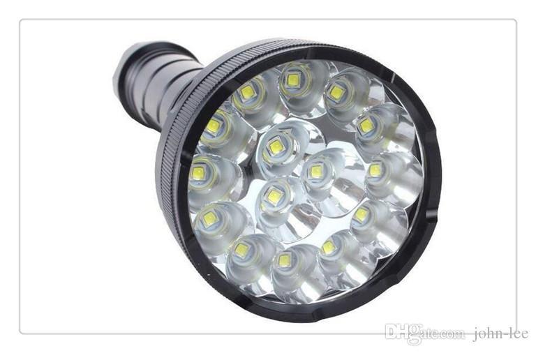 Lanterne livraison gratuite Ampoules Ultra feu Cree 15x Xm-l T6 Led 18000lm Lampe de poche étanche Lampe Torche Lumière 5modes 1200m Distance d'éclairage
