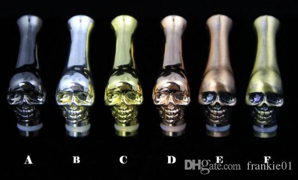 boquillas metálicas de vape punta de goteo 510 boquillas de metal cabeza de cráneo curvadas largas 510 gotitas para atomizador de cigarrillo electrónico tanque kanger rda vape rdta