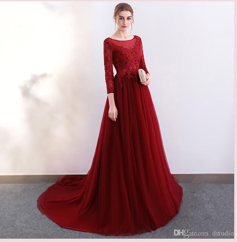 Gorgeous Dark Red Long Prom Dresses Three Quarter Sleeves Open Back