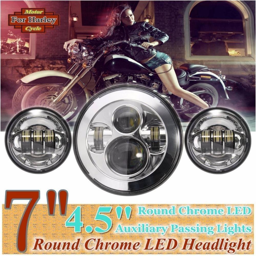 7'' Chrome harley Daymaker LED Headlight Auxiliary Lamp LED Light Bulb +  4.5'' LED fog light DRL Headlamp for Harley Motorcycle