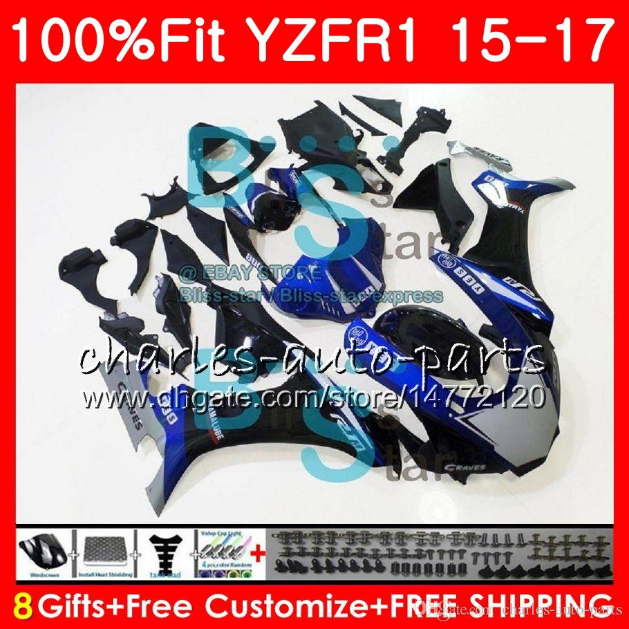 blue black Injection Body For YAMAHA YZF 1000 YZF R 1 YZF-1000 YZF-R1 15 17 87NO14 YZF1000 YZF R1 15 16 17 YZFR1 2015 2016 2017 Fairing kit