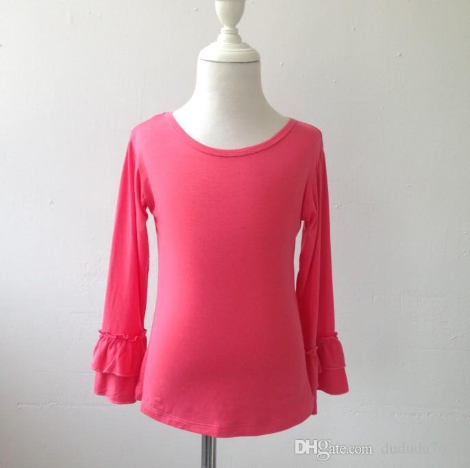 707bdaa09 Fashion Girl T Shirt Double Ruffle Pure Color Baby Girls Cute Funny ...