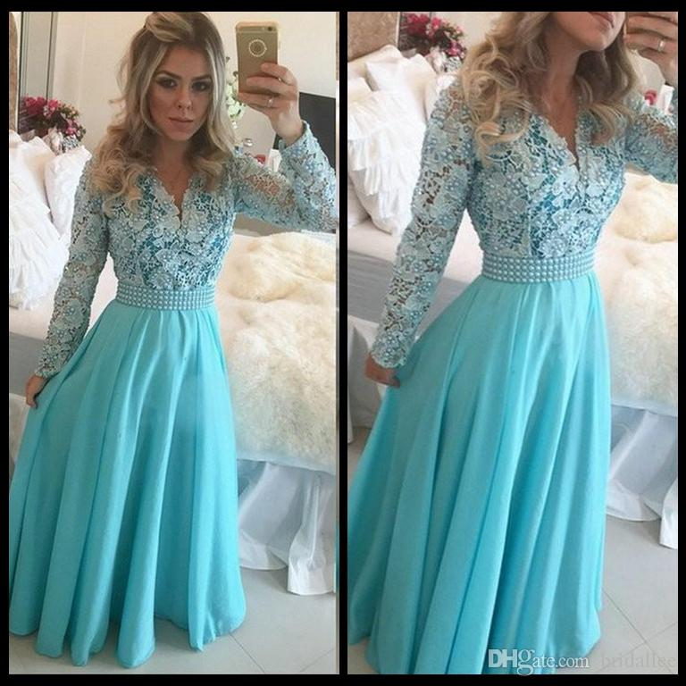 6640ba1f67 Long Prom Dresses Modest Long Sleeve V Neck Pearls Hunter Lace Chiffon A Line  Floor Length Hot Selling Party Gowns Custom Made Extravagant Prom Dresses  ...