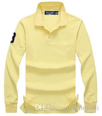 camisa de polo al por mayor 2017 otoño e invierno nueva alta calidad del 100% manera de la camisa de manga larga del POLO de los hombres del algodón de los hombres ocasionales de la manga larga
