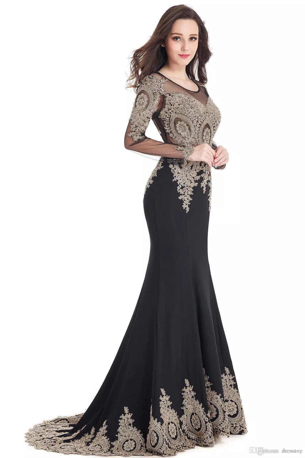 Plus Size Mermaid Prom Dresses Long Scoop Neck Sleeves Dress Evening Wear Sweep Train Lace Elegant Mother Of The Bride Dresses