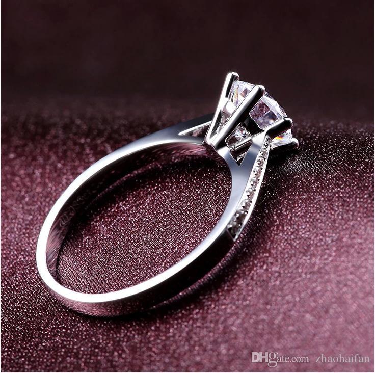 US GIA Zertifikat 95% Rabatt !!! 18K Weißgold gefüllte Ringe Set Luxus SONA 8mm 1 Ct CZ Diamant-Trauringe für Frauen Ring