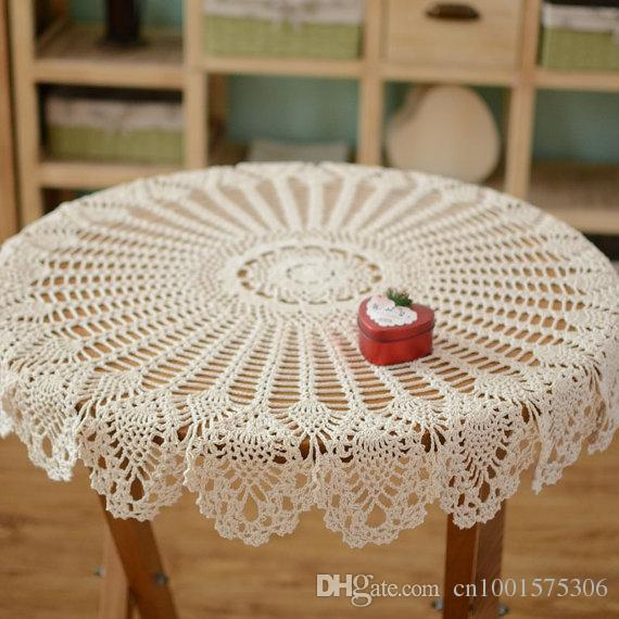 Hand Crochet Pattern Table Cover, Handmade Coffee Table Cover, Night Stand  Cover, Refrigerator Cover, Round Crochet For Home Decor Linen Tablecloths  Fitted ...