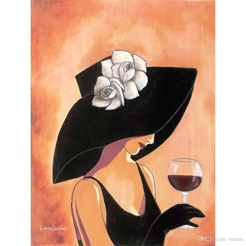 Handmade Abstract Art Woman Paintings Wine Lady In Hat Oil On Canvas  Pictures For Home Decor UK 2019 From Reeme 9802d868620