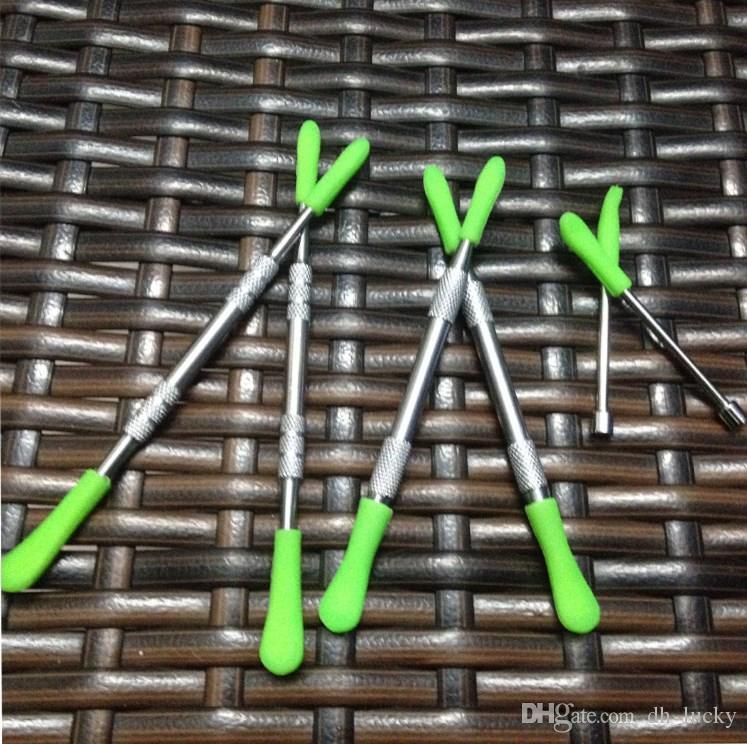 Cera dabber herramientas vax atomizador herramientas de acero inoxidable dab con punta de silicona herramienta dabber hierba seca vaporizador pluma dabber Skillet