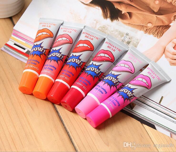 Romántico de larga duración Brillo de labios Peel Off Liquid Lipstick Tinte de labios impermeable Maquillaje Lipgloss Cosméticos envío gratis