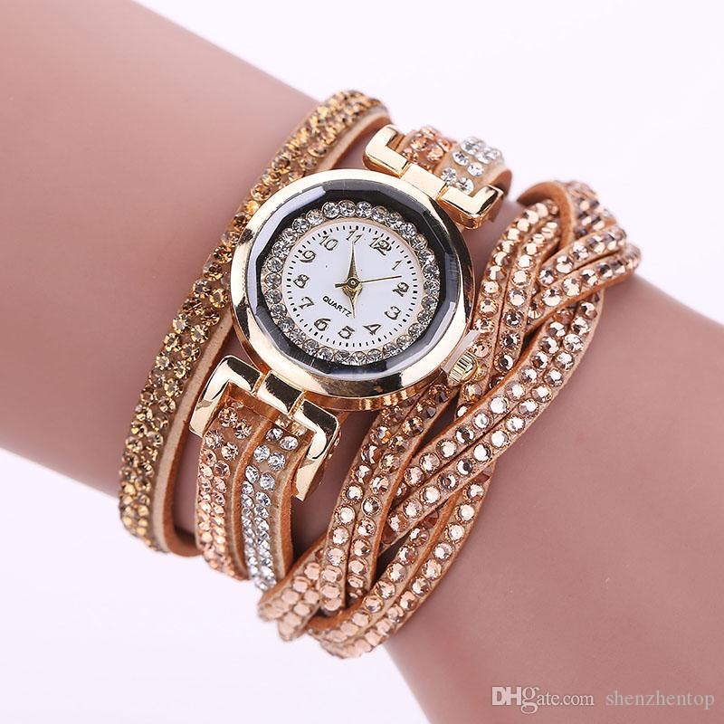 5fecd0179 Fashion Leather Weave Watches Women Bracelets Watch Diamond Leather Dress  Quartz Dreamseeker Casual Watches for Women Relogios Feminino Mesh Watches  Online ...