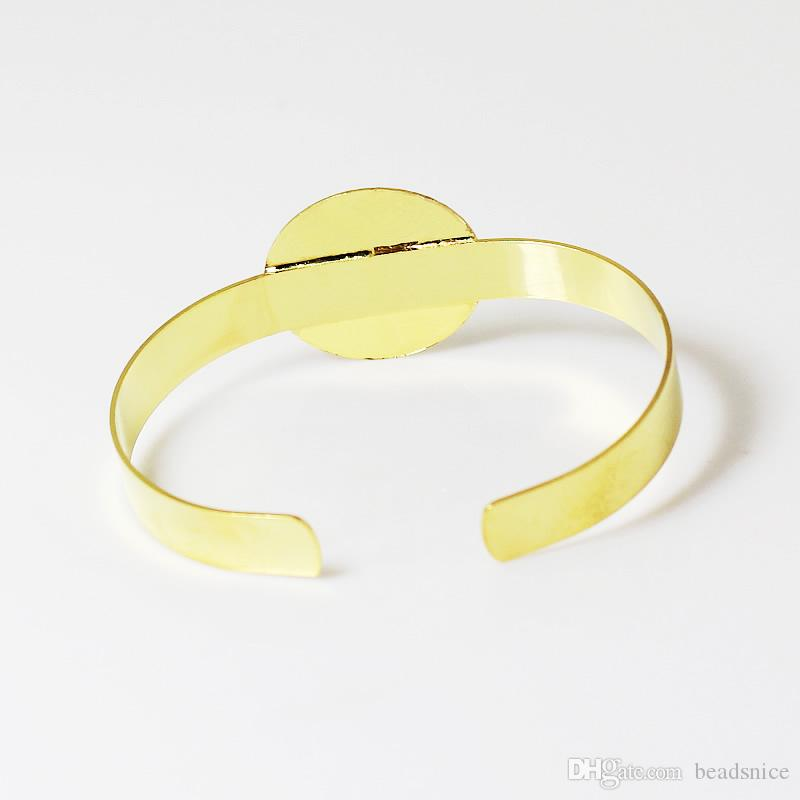 Beadsnice Smycken Armband Brass Cuff Bangle med 25mm Flat Pad Nice för Cabochon eller Cameo Diy Smycken ID 4737