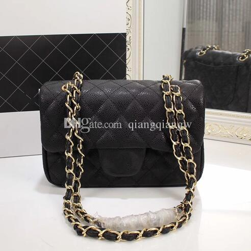 High Quality Luxury Designer 20cm Quilted Chain Bag Real Caviar