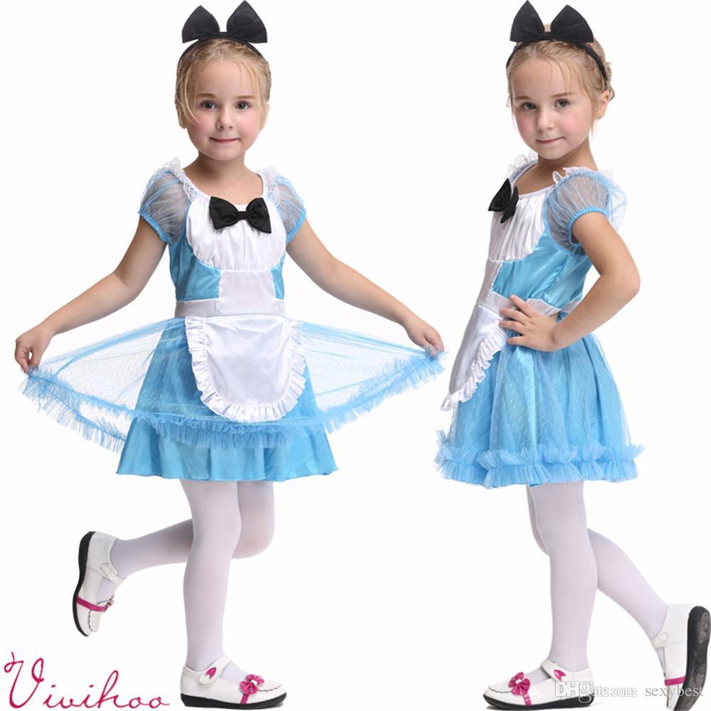 Großhandel Kinder Halloween Blaue Tulle Fantasie Kleid Mädchen Alice ...