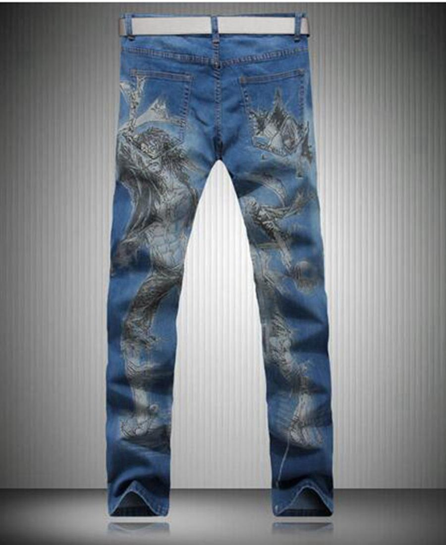 Han edition cultivate one's morality men's fashion leisure new fashion personality big code printed cotton denim trousers / 28-36