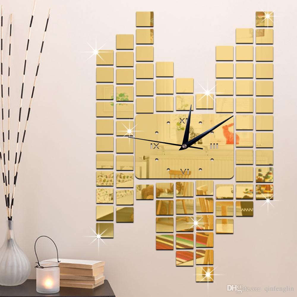 3d Mirror Wall Mosaics Squares Clocks Home Decoration Diy Mirror ...