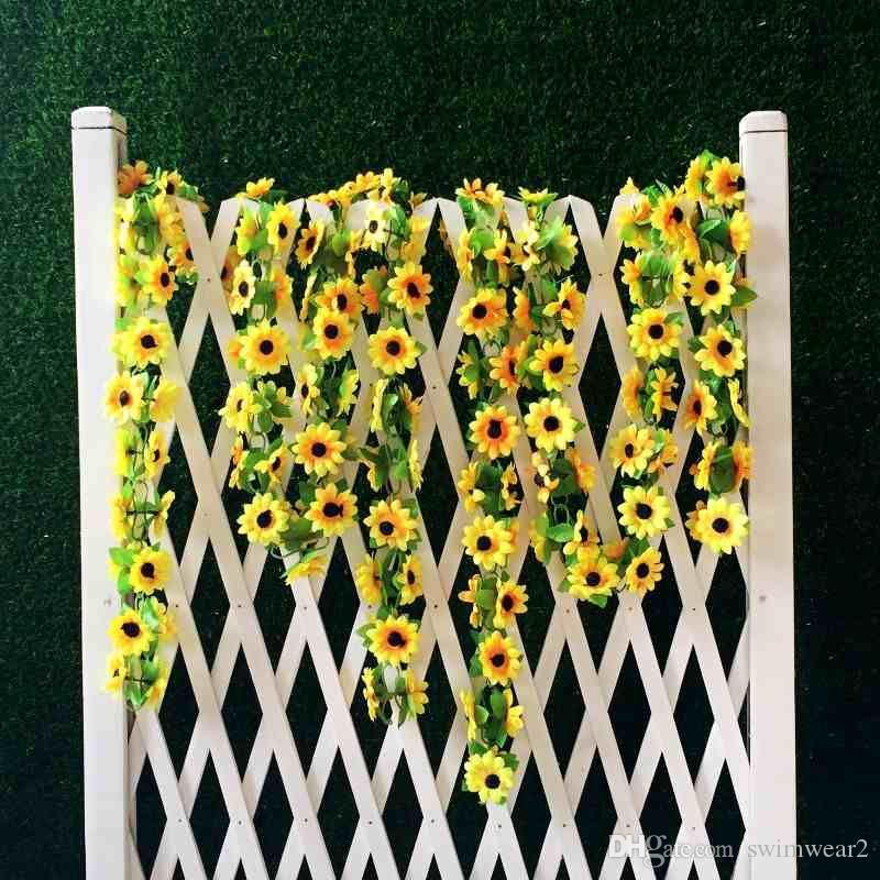2019 2m Artificial Yellow Sunflower Garland Silk Wedding Flowers
