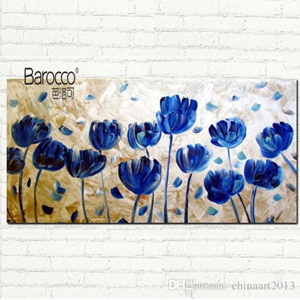 2018 100% Hand Painted Nice Blue Flowers Oil Painting On Canvas ...