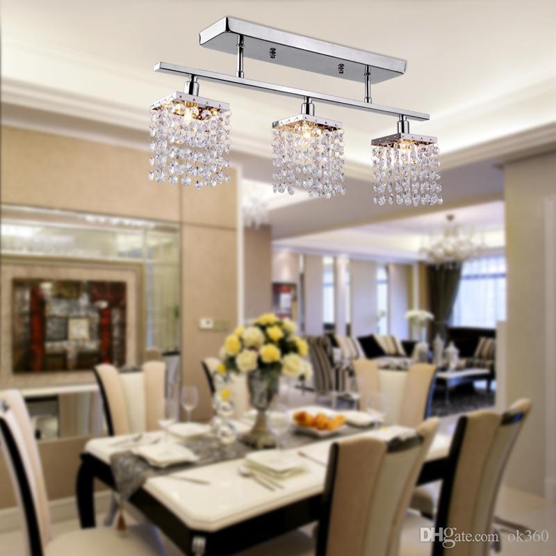 Modern 3 Işıklar Kristal LED Tavan Işık Doğrusal Tasarım sarkıt Koridor, Yatak Odası, Oturma Odası için Gömme Montaj Tavan Işıklar Fikstürü