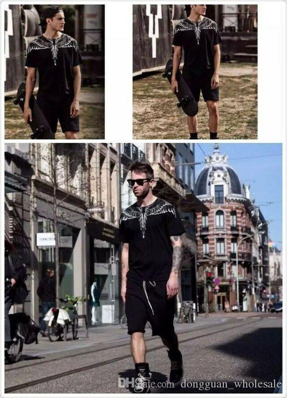 Ss yeni Marcelo Burlon T-Shirt Erkekler Milan Tüy Kanatları T Gömlek Erkekler Kadınlar Çift Defile RODEO DERGISI T Shirt Goros camisetas