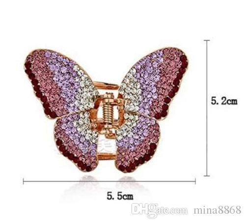 New Fashion Beautiful Hair Clip Hairpin Austrian Crystal Butterfly Hair Claw Hair Clips for women DHF747