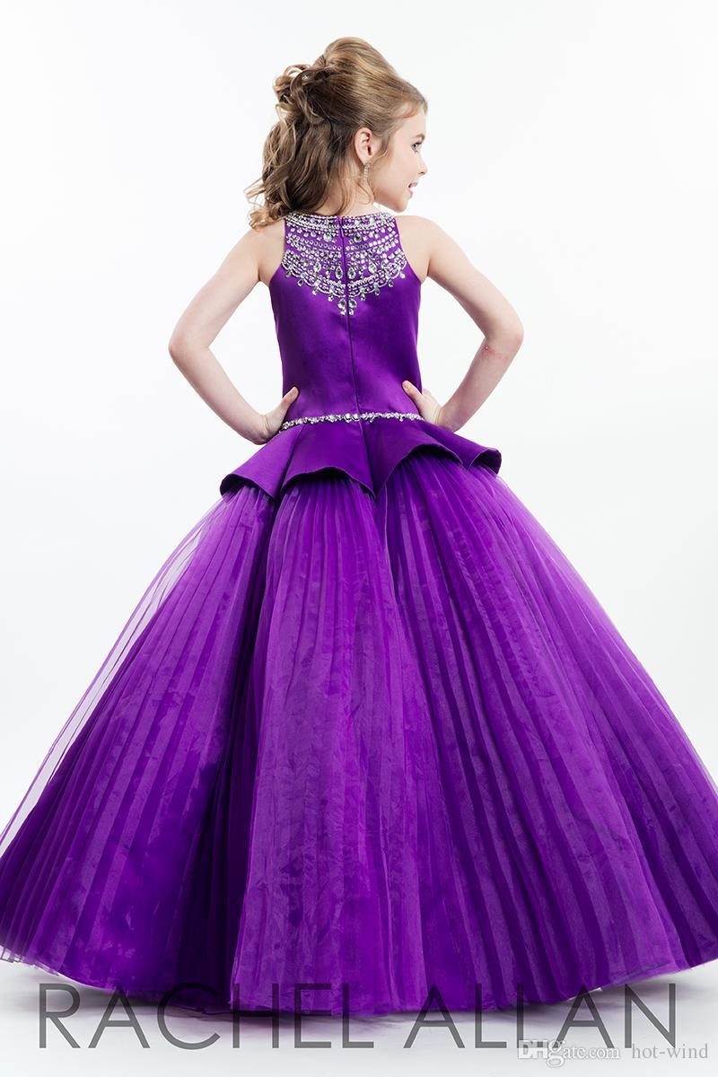 2020 Rachel Allan Purple Ball Gown Princess Girl's Pageant Dresses Sparkling Beaded Crystals Zipper Back Cute Girls Flower Girls Dresses