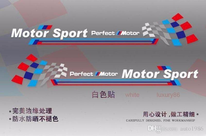 white M auto Sport Race Stripes Vinyl Car Truck Body Sticker Side for BMW