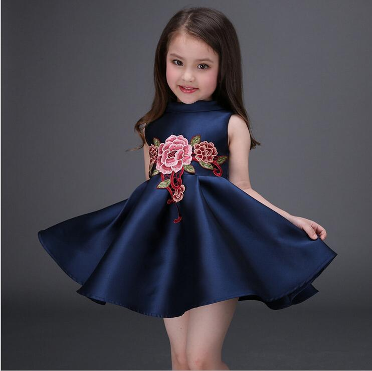 ffbd14445132 Summer sleeveless Dress Kids Baby Girls Princess Dresses Embroidered Flower  Tutu Formal Dress Children's Clothing Pinafore Dress