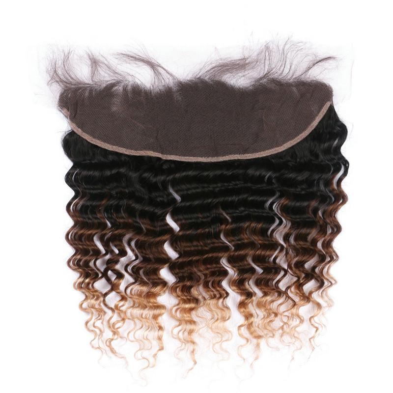 Deep Wave # 1B / 4/27 Honey Blonde Ombre, pelo brasileño con encaje en la parte delantera 3Tone Ombre 3Bundles con 13x4 Full Lace Frontal