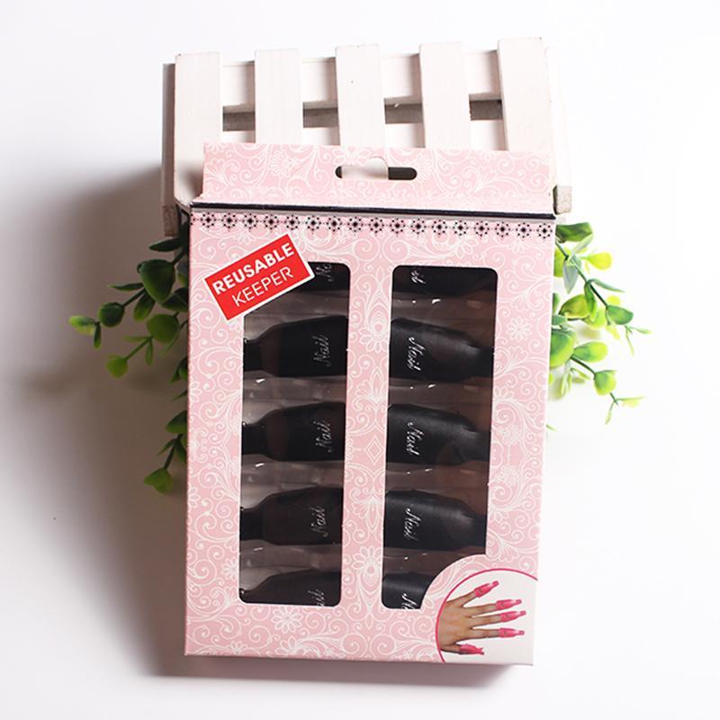 10 Unids / set Removedor de Esmalte de Uñas Soaker Plástico Reutilizable Guardián Salon DIY Nail Art Tool Wearable Gel-off Gel UV Acrílico Limpiador Clip Cap Wrap
