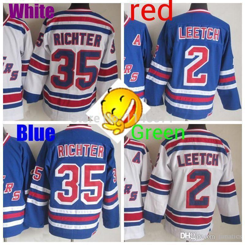 Maglia Old Famous Player 2 Brian Leetch blu New York 35 Maglia Mike Richter con scollo a V blu bianca Top Quality