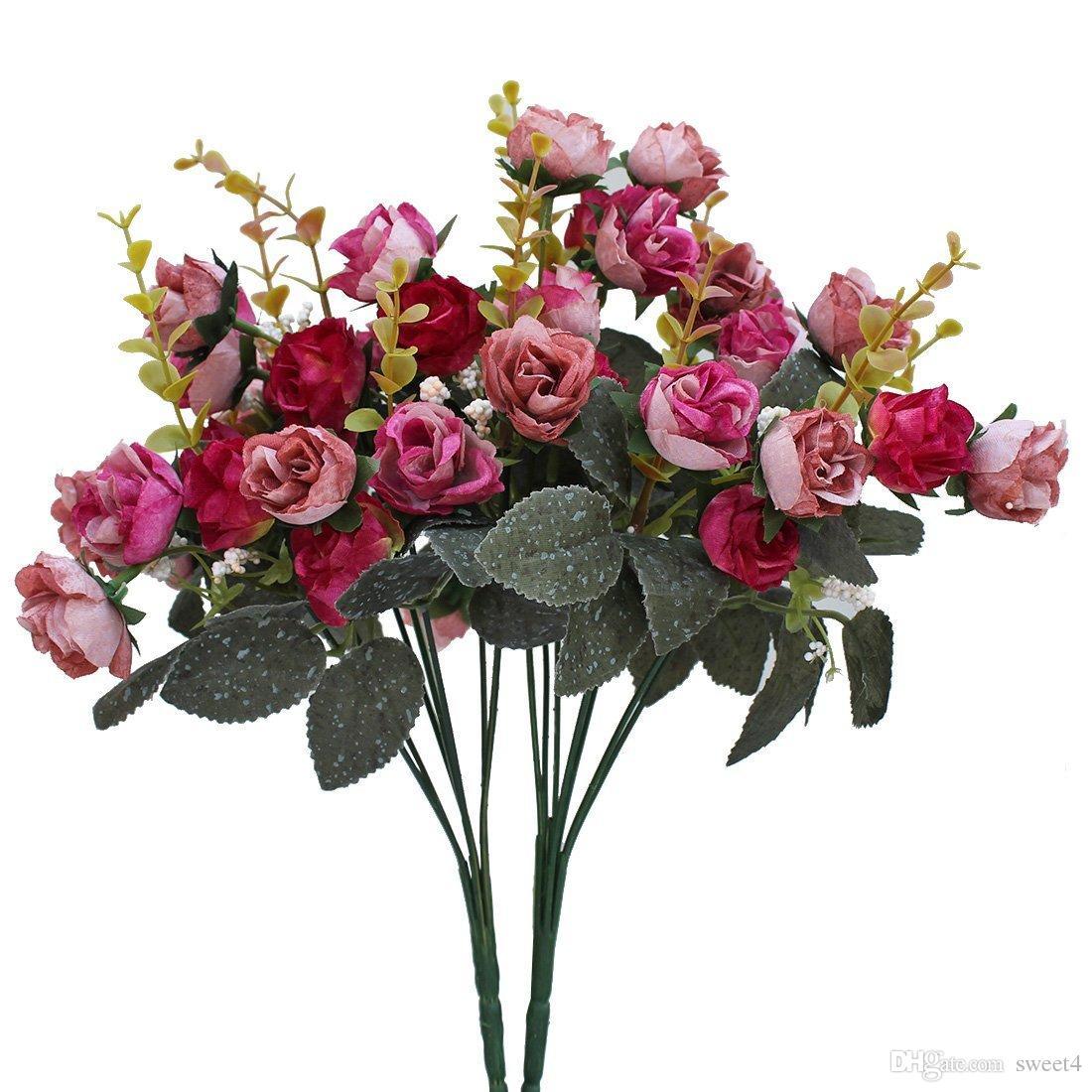 Großhandel 7 Zweig 21 Köpfe Künstliche Seide Gefälschte Blumen Blatt ...