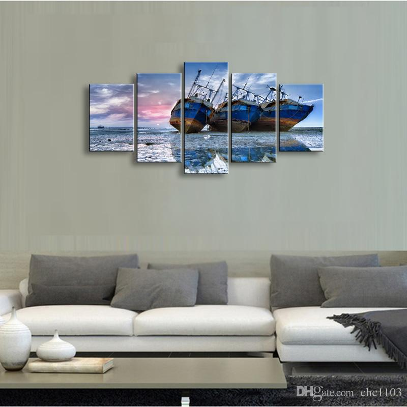 high-definition print Ship canvas oil painting poster and wall art living room picture PL5-155