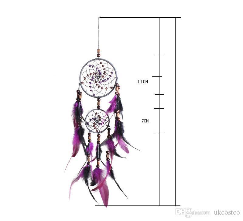 Romantique Pourpre Dream Catcher Net Avec Des Plumes Suspendus Décoration Dreamcatcher Carillons À Vent Pour La Voiture Enfants Lit Chambre Tenture D360L
