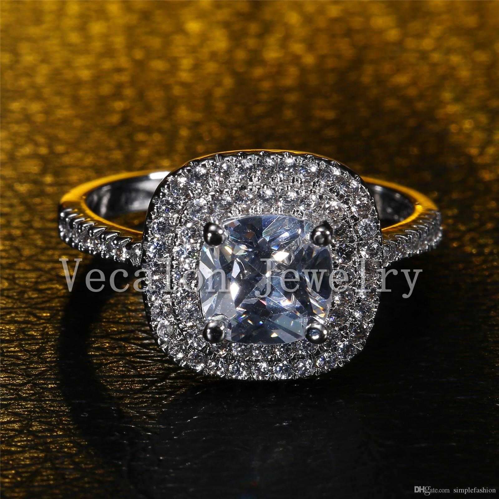 Vecalon 2016 moda anillo de bodas de compromiso de diseño para las mujeres 3ct diamante simulado Cz 925 anillo de plata de la banda femenina